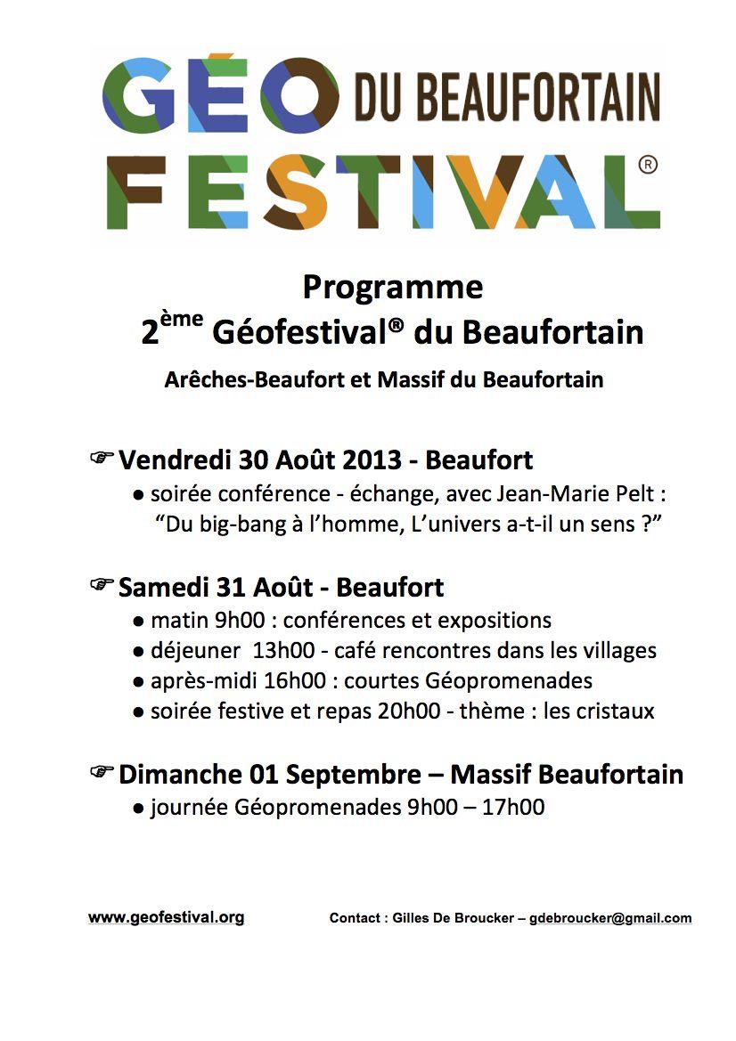 Programme Geofestival 2013